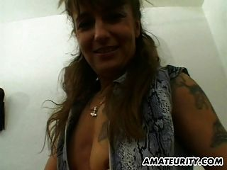 Amateur Milf Toys, Sucks And Fucks With Cum On Ass