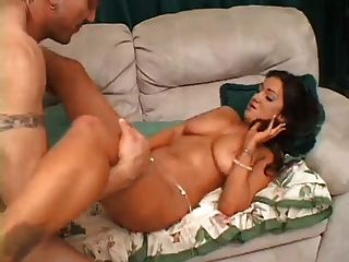 Brunette With Nice Tits Sucks And Fucks A Big Cock