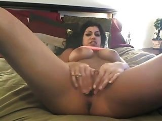 Latin Babe Strips & Toys On Cam