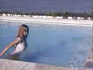 Claudia Schiffer In The Pool