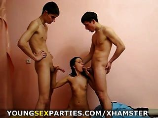 Young Sex Parties - Teeny Taking Two Big Ones