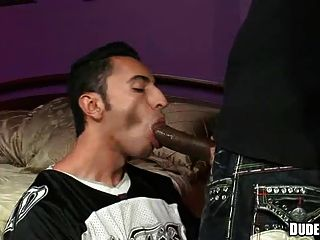 Twink Chokes On Enormous Black Cock