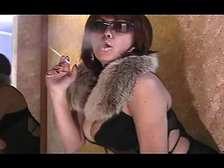 Hot Smoking Mature In Shades And Fur