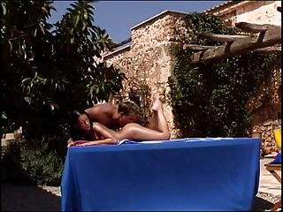 Hot Brunette Milf Gets Analed On A Massage Table In The Sun