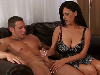 Horny Milf (with Great Tits) Gives A Great Hand And Blowjob.
