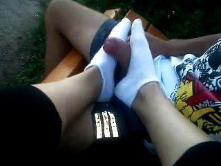 Footjob White Socks