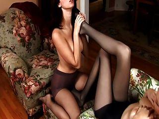 Erotic Lesbian Pantyhose Foot Worship