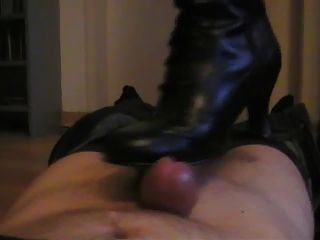 Black Boots And Stockings - Footjob And Cum