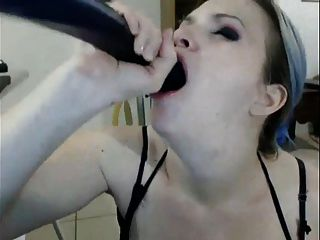 Cam Girl Dildos Her Mouth...