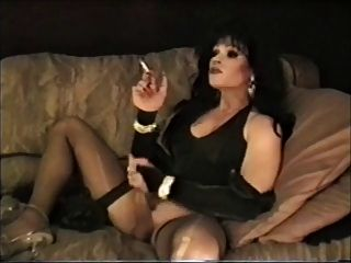 Cool Dark Haired Tranny Smokes & Masturbates