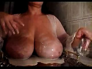 Milking Time For Granny With Insane Cow Sized Udders