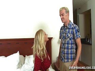 Busty Milf Jerks Off A Stranger