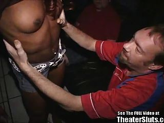 Sporty Black Chick Ravaged In Porno Theater!