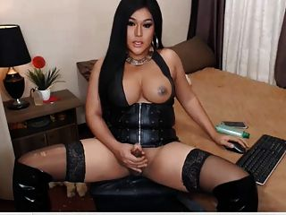 Beautiful Latin Shemale Stroke Her Hard Cock On Cam