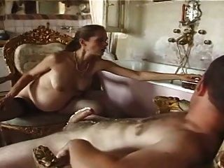 Pregnant Hairy French Food Play Gape Anal Facial Stockings