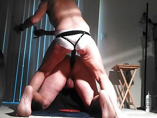 Lady J Pegging With White Satin Panties