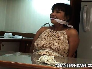 Mature Brunette With Big Boobs Tied Up And Groped Up