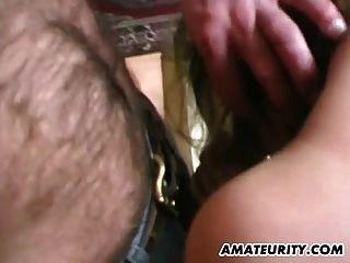 Amateur Teen Girlfriend Enjoys 3 Dicks At Home
