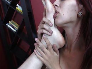 Lesbian Redhead Girl Addicted To Her Friend Feet