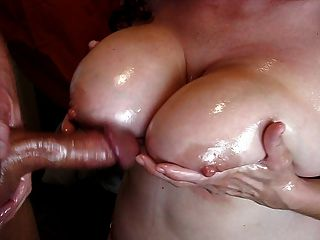 Huge Oiled Tits And Cum Shot