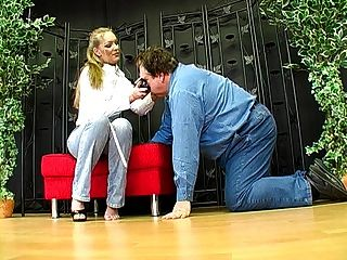 German Femdom Lady Joanne And Her Foot Slave  1