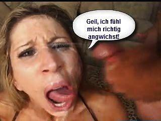 Geile Sau Wird Angewichst - Sperm In Her Face