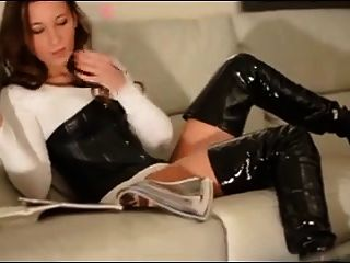 Brunette - Corset, Thigh Boots + Smoking
