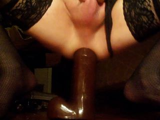 Stretching My Bitch Ass Wide With A Monster Black Dildo!!