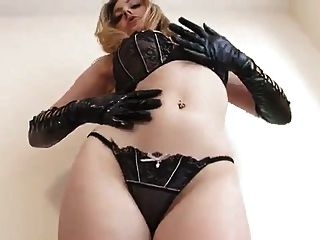 British Babe In Latex Plays With A Dildo