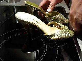 Golden Mules Shoes Cummed