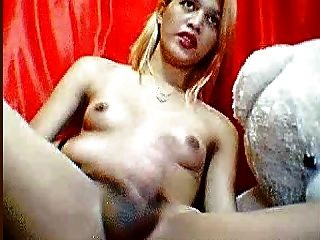 Asian Ladyboy Plays With Her Juicy Cock On Webcam.