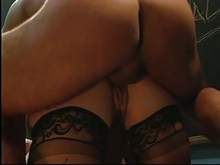 Blonde With Small Tits Takes On 2 Large Cocks