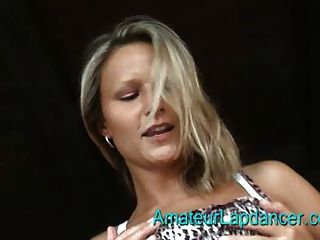 Hot Blonde Dancing And Stripping