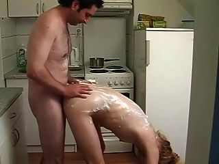 Girl Putting Whip Cream On Cock And Gives Head