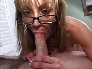 Mature Busty Blonde Sucks Big Cock