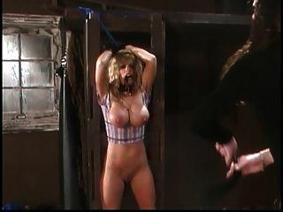 Bimbo Get Nipples Climped In Barnyard