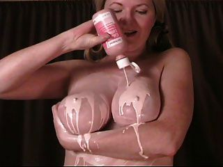 Pink Lotion On My Boobs And Feet