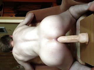 Dildo Rider. Jumping On A Big Dildo Back View - Part 6