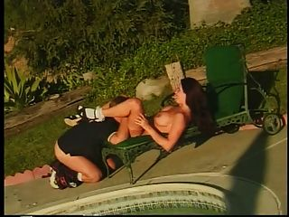 Brunette Gets Her Pussy And Ass Fucked By Pool Outdoors