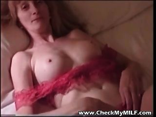 Granny Milf In Red Lingerie Playing With Rinkled Used Pussy