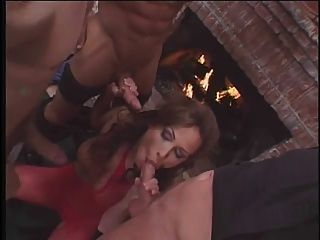 Brunette Milf Hooker In Mesh Lingerie Gets Triple Penetrated By Three Guys