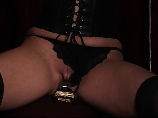 Cute Young Brunette Has Her Shaved Pussy Clamped By Her Older Slave Master