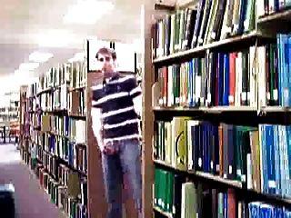 Guy Stroking In University Library