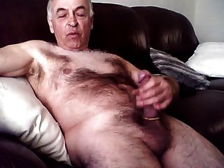 Older Hairy Man Strokes