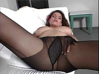Girl Masturbating In Black Pantyhose