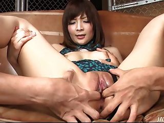 Riona In A Sexy Dress Goes Out Back With Two Honry Guys For