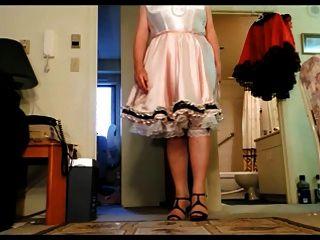 Sissy Ray Upskirt 7 (white Satin Petticoat And Panties)