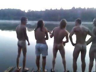Str8 Guys Singing Naked At The Lake