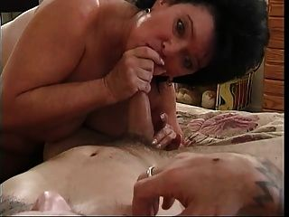 Older Brunette Rides A Hard Cock