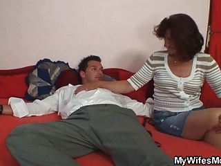 His Wife Leaves And Mother-in-law Fucks Him